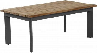 Canvas Aluminum Teak Top with Gun Metal Aluminum Coffee Table