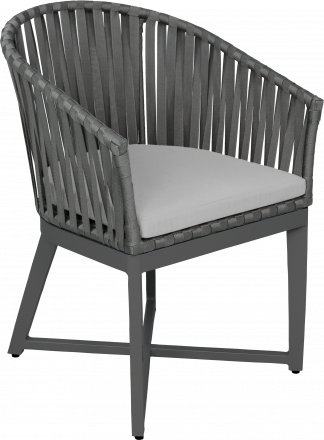 Canvas Aluminum Dining Arm Chair with Grey Strapping and Gun Metal Aluminum