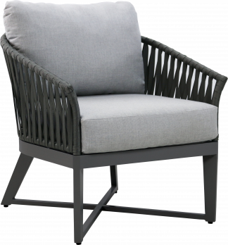 Canvas Aluminum Club Chair with Grey Strapping and Gun Metal Aluminum