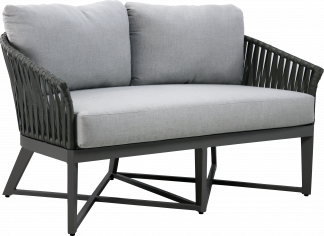 Canvas Aluminum Loveseat with Grey Strapping and Gun Metal Aluminum