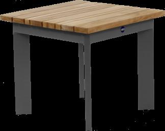 Canvas Aluminum Teak Top with Gun Metal Aluminum Side Table