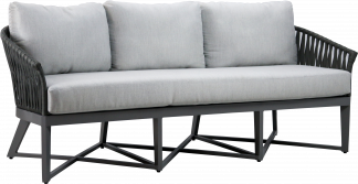 Canvas Aluminum Sofa with Grey Strapping and Gun Metal Aluminum