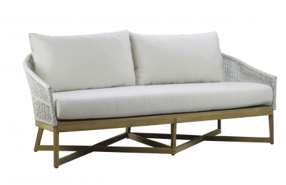 Canvas Teak Loveseat with Rope