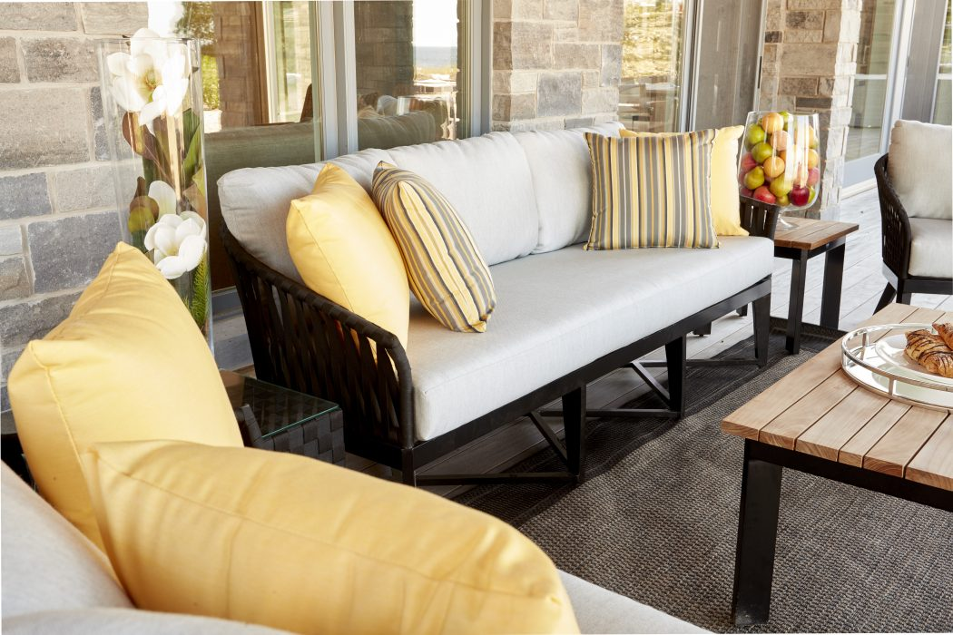 Canvas Aluminum Deep Seating in Black with Black Strapping