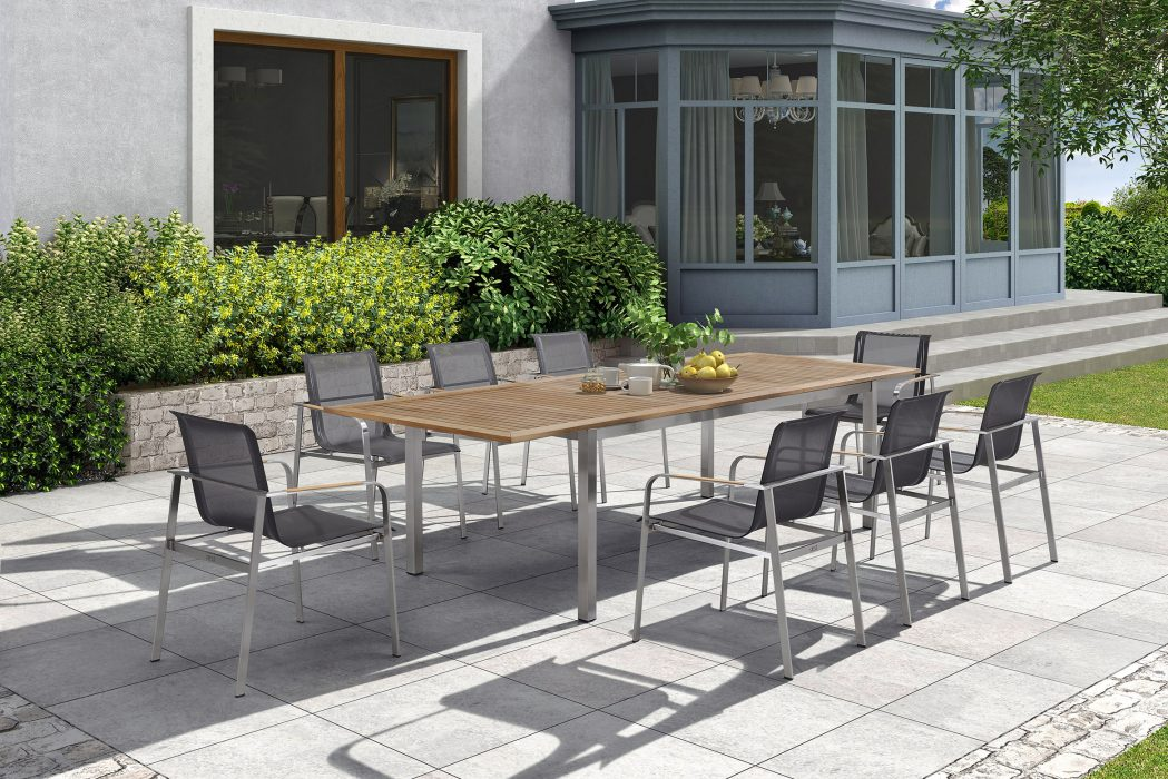 Echo Dining Arm Chairs and the Teak Top Extension Dining Table