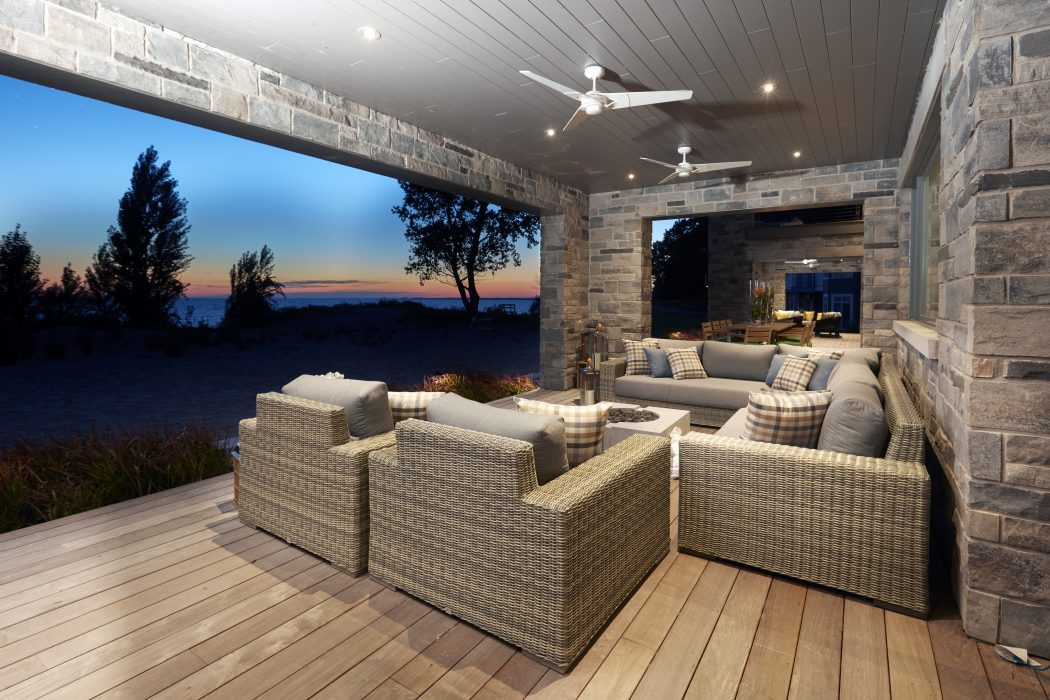 Vineyard Collection in Driftwood with a DEKKO Bravo Fire Pit
