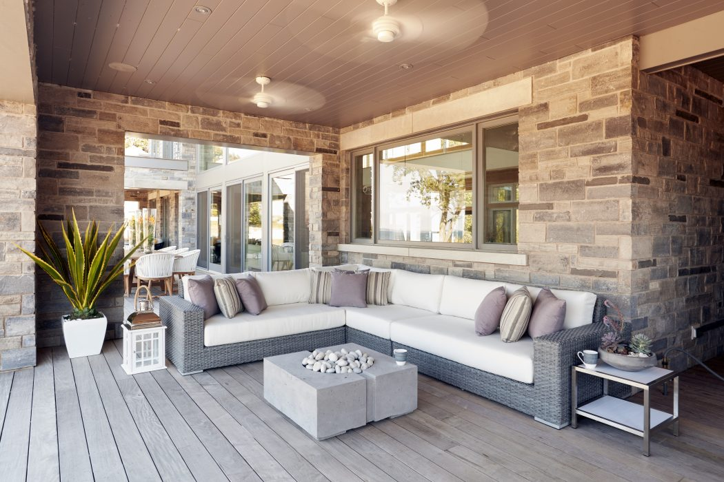 Vineyard Sectional in Ash Grey with a DEKKO Bravo Fire Pit