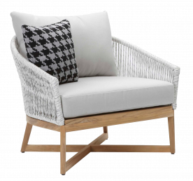 Canvas Teak Club Chair with Rope