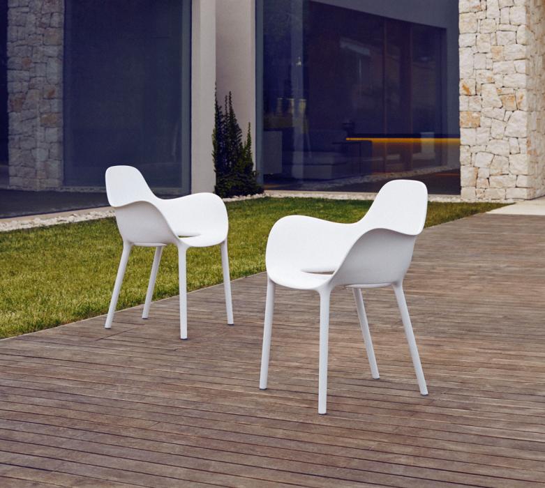 VONDOM Sabinas Dining Arm Chairs in White