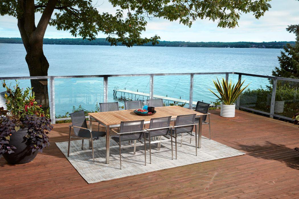 Echo Dining Arm Chairs and the Teak Top Dining Table