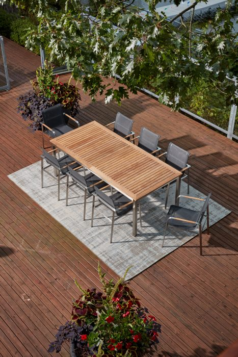 Echo Teak Top Extension Dining Table and Dining Arm Chairs