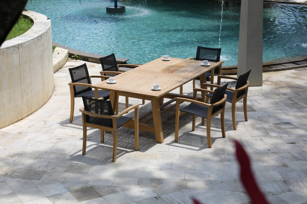 Flavio Teak Extension Dining Table with Key Largo Dining Arm Chairs