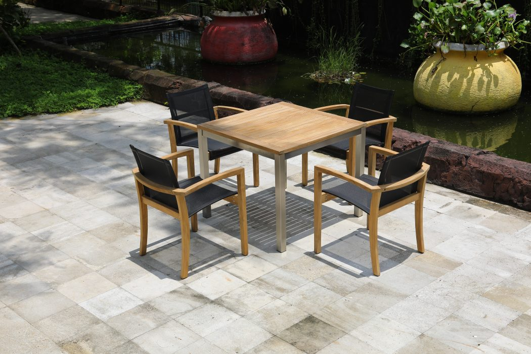 Siro Square Dining Table with Key Largo Dining Arm Chairs