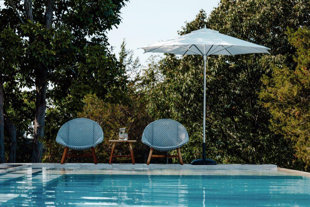Breeze Club Chairs and a Market Umbrella