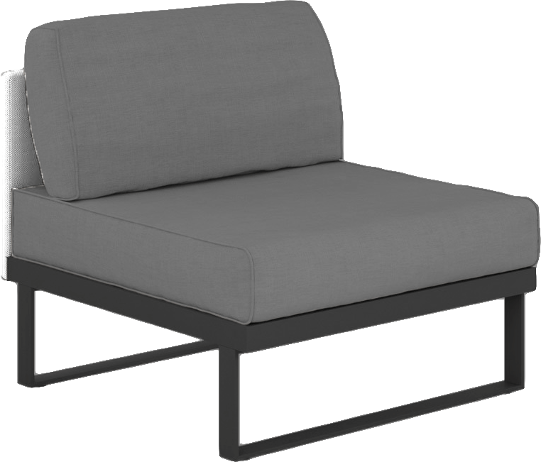 Suave Sectional Armless Slipper Asteroid Frame with White Sling