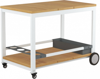 Planka Teak Trolley with White Aluminum