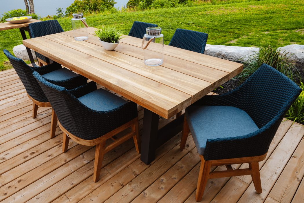 Monza Dining Table with Friday Harbour Dining Arm Chairs