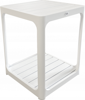Madrid Slat Top Side Table in White