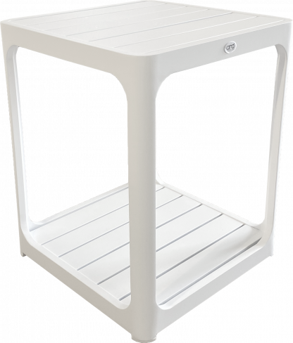 Madrid Slat Top Side Table in White