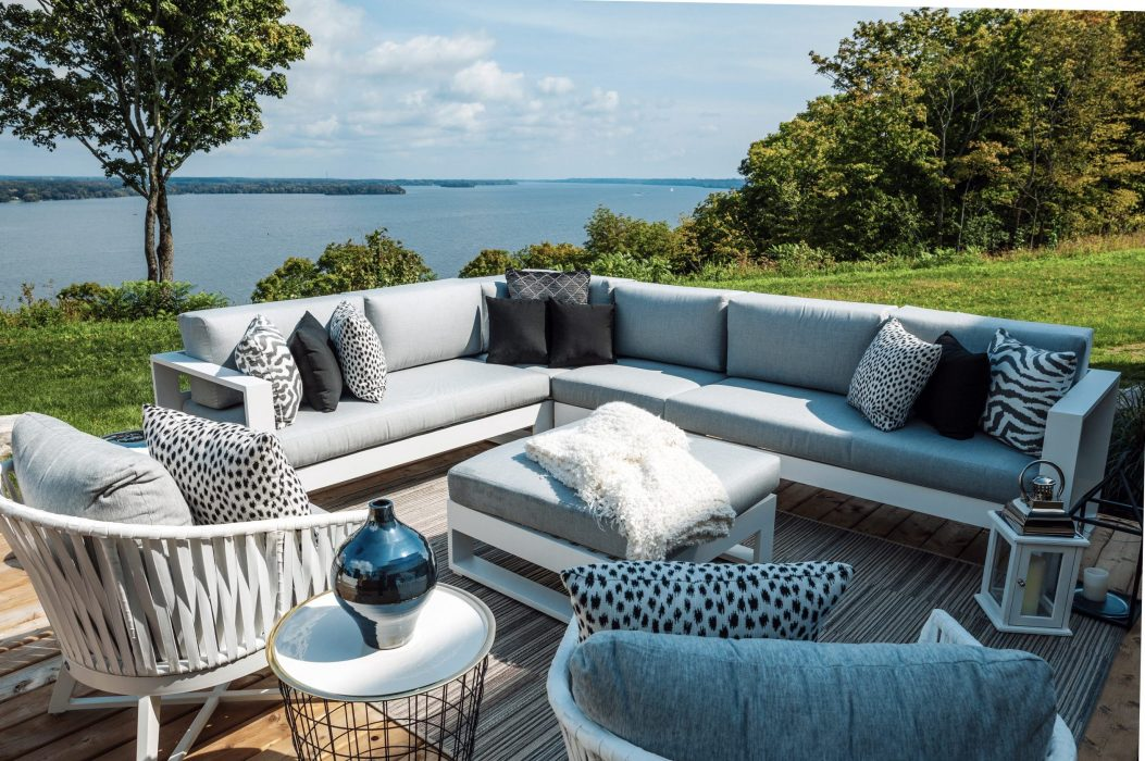 Nevis Sectional in White with Canvas Aluminum Club Chairs