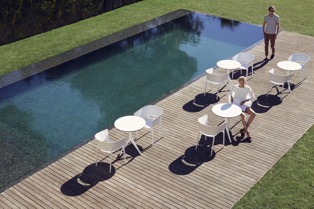 VONDOM Africa Dining Arm Chairs in White