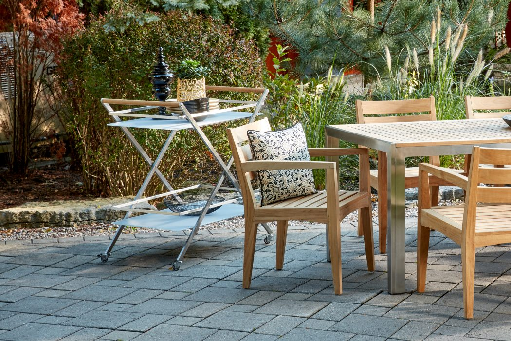 Eclipse Tea Cart Next to Aspen Dining Arm Chair