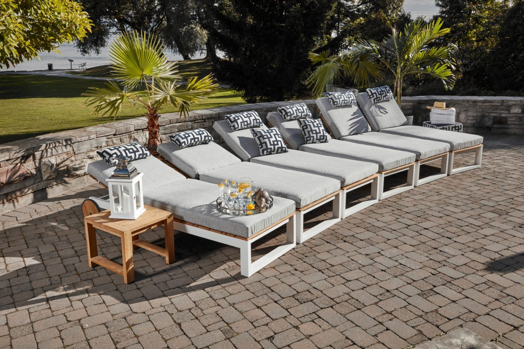 Rosewood Chaise Lounges with White Aluminum Base