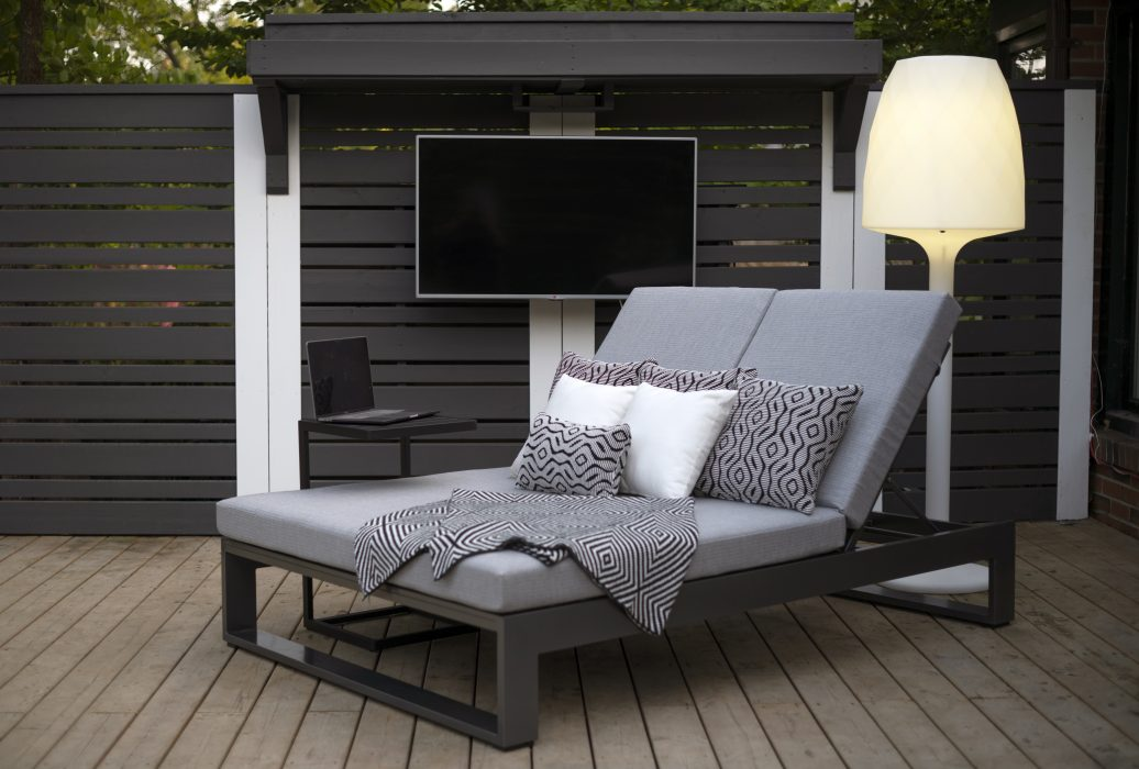 Nevis Double Chaise Lounge in Pewter with Butler Laptop End Table