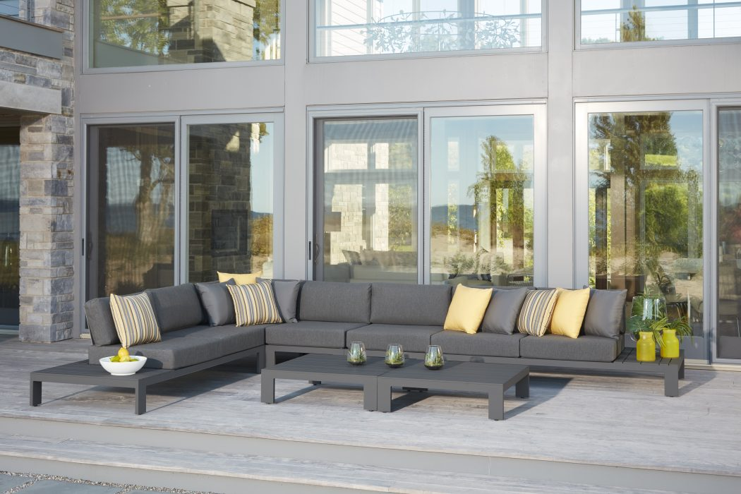 Streamline Sectional in Pewter Large Configuration