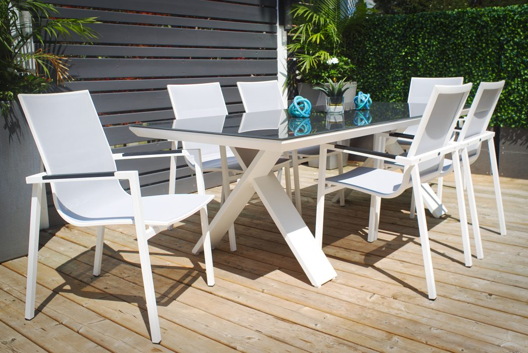 Kilo Rectangle Dining Table in White with Madrid Dining Arm Chairs