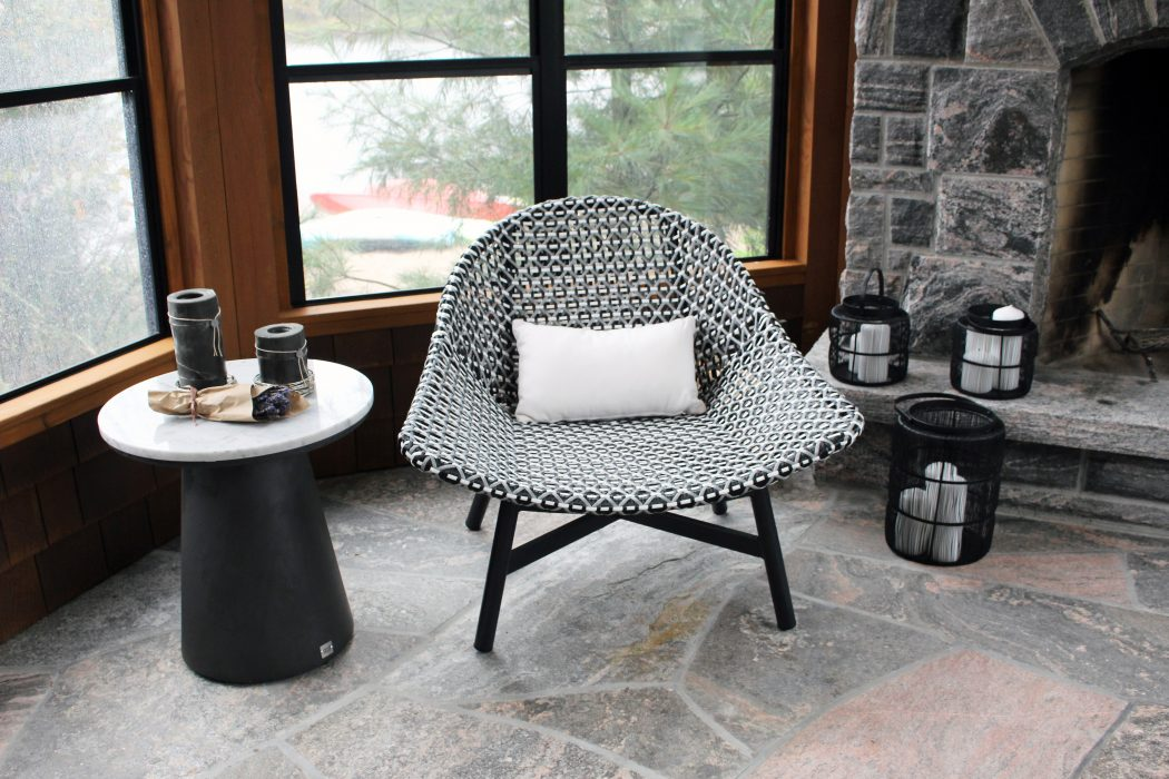 Breeze Club Chair with Black, Grey and White Mixed Weave and Black Legs