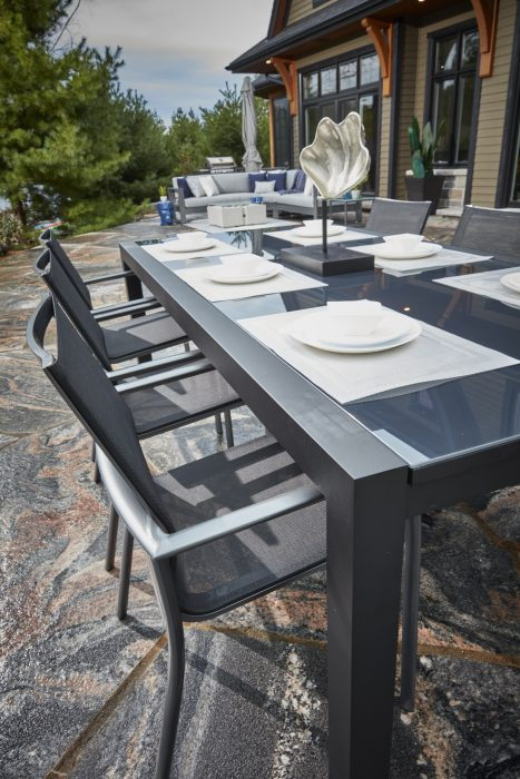 Marlo Dining Table in Pewter with Dark Grey Glass and Seville Dining Arm Chairs