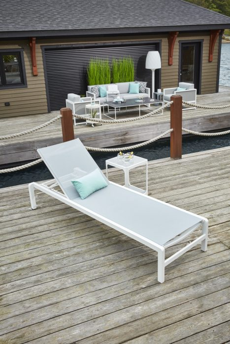 Cebu Chaise Lounge in White with Grey Sling