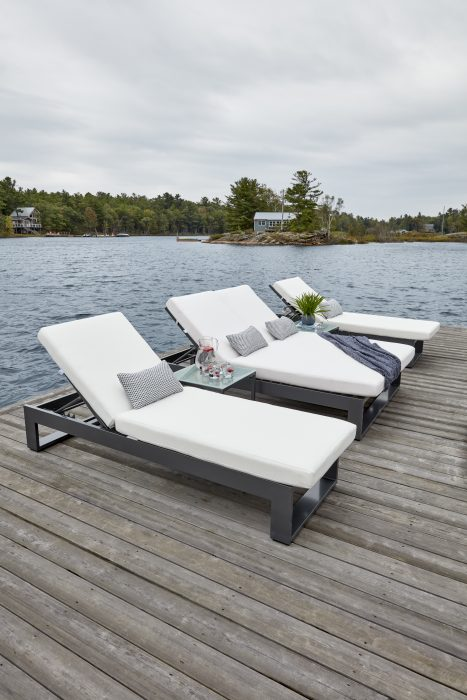 Nevis Single and Double Chaise Lounge in Pewter