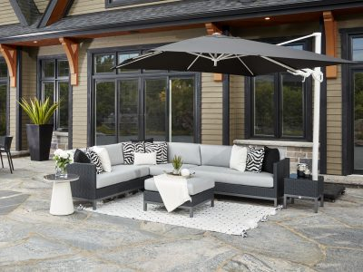 Alta Sectional in Black Wicker with a Cantilever Umbrella