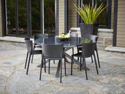 Kilo Dining Table in Pewter with VONDOM Africa Side Dining Chairs