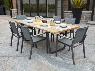 Live. Edge Dining Table with La Paz Dining Arm Chairs
